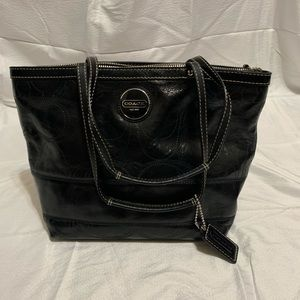 Coach Signature Patent Leather Tote Satchel Bag